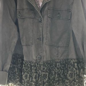 Lane Bryant Army green jacket with lace
